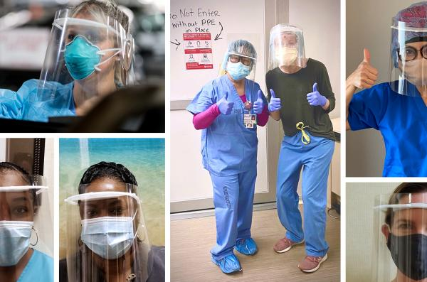 Composite image shows healthcare workers using face shields.