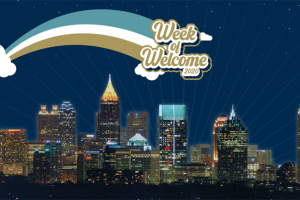 Atlanta skyline with Week of Welcome banner.